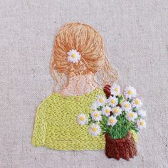 it's not my work just for embroidery ideas Needlepoint Stitches, Hand Embroidery Stitches, Embroidery Thread, Embroidery Applique, Machine Embroidery, Needlework, Contemporary Embroidery, Modern Embroidery, Embroidery Designs