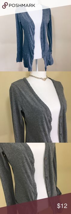 Soft long gray cardi Long and very soft gray cardigan with buttons. Has two front pockets. Wear buttoned or unbuttoned for a casual or business casual look. xxi Sweaters Cardigans