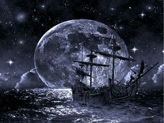 Ghost Pirate Ship Wall papers Background For Desktop Wallpaper « Long Wallpapers Fantasy Art Women, Dark Fantasy Art, Pirate Art, Pirate Ships, Pirate Life, Ghost Ship, Vampire Art, Ship Paintings, Beautiful Moon