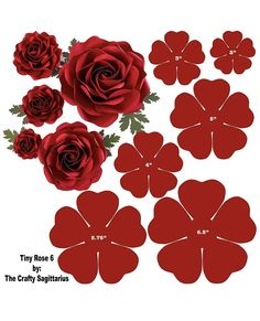 Hard Copy Template of 6 sizes Tiny Rose 6 availabl - Paper Flowers Ideas Paper Flower Patterns, Paper Flowers Craft, Large Paper Flowers, Paper Flower Wall, Paper Flower Tutorial, Flower Wall Decor, Flower Crafts, Diy Flowers, Fabric Flowers