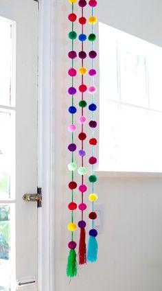 Handmade Bright Colored Pom Pom Garland / Mexican Decor