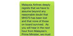 Vol MH370: le SMS envoyé aux familles de victimes choque le Web
