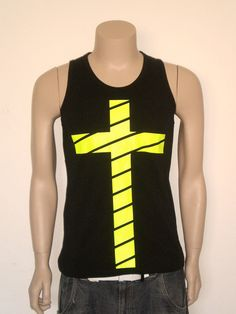 Neon fluo yellow cross tank for men by librastyle on Etsy, €15.00