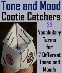 These tone and mood cootie catchers are a great way for students to have fun while learning vocabulary about tone and mood. How to Play and Assembly Instructions are included.This activity has students reading a vocabulary word and then giving its definition.