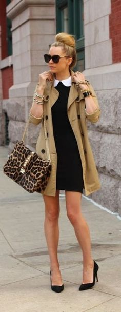 Spring Fashion 2014. A black sweater dress with collar and trench. Leopard for the accent. Love! ::M::
