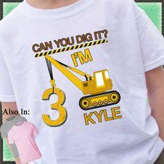 Crane CONSTRUCTION Birthday T-shirt can you by CustomTeesForTots