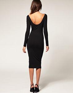Long sleeve scoop back mid-length dress