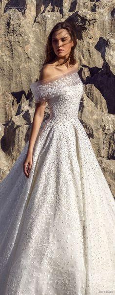 tony ward fall 2018 bridal off the shoulder straight across neckline full embellishment romantic a line wedding dress chapel train (6) lv