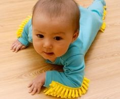 BABY MOP - The onesie that cleans your floors. Alternatives include getting a roomba.