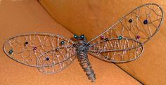 Large wire dragonfly I made from aluminum wire and beads