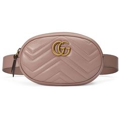 Gucci Gg Marmont Matelassé Leather Belt Bag ($890) ❤ liked on Polyvore featuring bags, beige, handbags, new gg marmont, women, leather belt bag, chevron bags, leather belt, zip top bag and beige bags