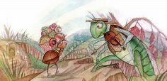El invierno sería largo y frío. Nadie sabía mejor que la hormiga lo mucho que se había afanado durante todo el otoño, acarreando arena y trozos de ra-mitas de aquí y de allá.