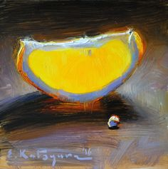 """""""Golden Slice"""" Peinture de l'artiste contemporaine Elena Katsyura"""