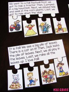 Fall Reading Fluency puzzles that practice fluency, reading comprehension, and sequencing a story all in one fun puzzle! She has so many of these - such a fun reading activity for kids!