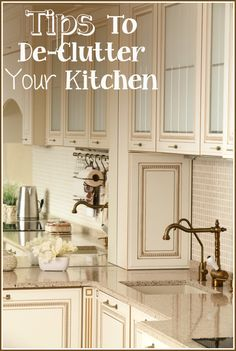 The KITCHEN………. Is it dé-cor or de-clutter? What are you comfortable leaving out on your kitchen counter? Decorations, functional kitchen items, etc. I like a nice, clean, clear counter spac. Kitchen And Bath, New Kitchen, Kitchen Items, Cabinets For Less, Functional Kitchen, Cabinet Colors, Organizing Your Home, Kitchen Organization, Tricks