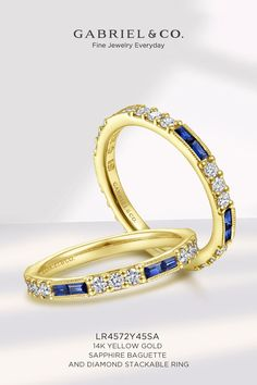 14K Yellow Gold Sapphire Baguette and Diamond Stackable Ring LR4572Y45SA#GabrielNY #UniqueJewelry #SapphireRing #DiamondRing #Stackable#DiamondStackable#StackableRings #YellowGoldRing#YellowGoldFashionRing Gabriel Jewelry, Sapphire Jewelry, Stackable Rings, Something Blue, Yellow Gold Rings, Baguette, Fashion Jewelry, Gems, Wedding Rings