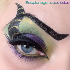 Maleficent eye makeup art! Maleficent, makeup, eye, shadow, green, purple, disney, liner