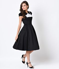 1950s Vintage Style Black & White Cap Sleeve Tuxedo Swing Dress