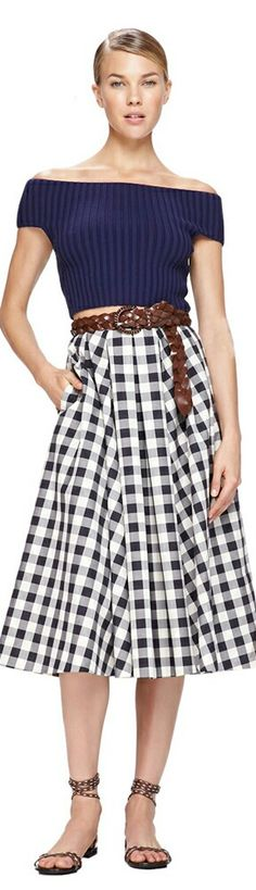 Michael Kor. Love the gingham skirt and the sandals.