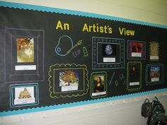 """draw, paint, and cut: """"An Artist's View"""" Bulletin Board elementary art education class classroom setting up"""