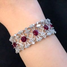 New 'Amelia' bracelet - totaling 32 carats of Cushion Shape Burmese Pigeon Blood Rubies and mixed cut diamonds. Ruby Jewelry, Bridal Jewelry, Diamond Jewelry, Gold Jewelry, Fine Jewelry, Jewellery, Craft Jewelry, Diamond Bracelets, Gold Bangles