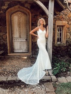 Scottie's unique lace and plunging back will mesmerise you into a beautiful trance. Polka Dot Wedding Dress, Wedding Dress With Veil, Lace Mermaid Wedding Dress, Bridal Wedding Dresses, Bridal Lace, Wedding Attire, Informal Wedding Dresses, Affordable Wedding Dresses, Formal Dresses