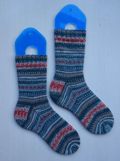 "Self Striping Knit Socks   >   Yarn by Arne & Carlos, Edition 2 :  Colorway ""Summer Night""   /   At24"