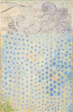 From Nancy Hoffman Gallery, Robert Zakanitch, Hanging Gardens Series (By the Sea) Gouache and colored pencil on paper, 96 × 60 in Wave Drawing, Pattern And Decoration, Art Thou, Abstract Drawings, True Art, Minimalist Art, Color Theory, Gouache, American Art