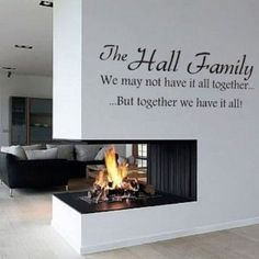 Love the fireplace and the wall quote too :)
