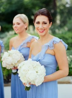 Amsale Bridesmaids -- Such a pretty blue. See the wedding here: http://www.StyleMePretty.com/southeast-weddings/2014/04/11/classic-southern-wedding-at-home/ Photography: LizBanfield.com
