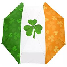 Naanle Irish Flag Clover Shamrock Auto Open Close Foldable Windproof Travel Umbrella