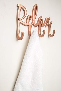Relax Copper Towel Rack - Wall Mounted Bathroom Towel Hooks – Towel Holder 4 Hook – Copper Vintage Towel Hanger – Spa Themed Bathroom Accessories– Decorative Bathroom Hardware – Bath Décor
