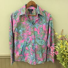 Jones New York Paisley Top Pink with blue and green paisley pattern. Button down. Long sleeve with pearl buttons. Jones New York Tops Button Down Shirts