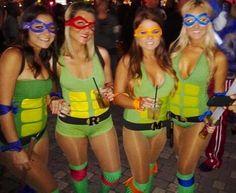 homemade teenage mutant ninja turtles girl costumes for halloween. Girl Group Halloween Costumes, Halloween 2014, Creative Halloween Costumes, Halloween Outfits, Girl Costumes, Adult Costumes, Halloween Party, Costume Ideas, Halloween Ideas