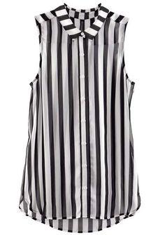 #SheInside Black White Vertical Stripe Sleeveless Chiffon Blouse