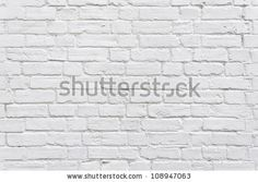 White brick wall background - stock photo