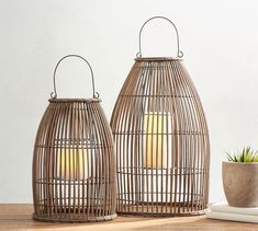 Pottery Barn Careyes All-Weather Outdoor Wicker Lantern , Indoor Outdoor Rugs, Outdoor Dining, Outdoor Balcony, Backyard Patio, Backyard Ideas, Outdoor Decor, Outdoor Candle Lanterns, Pottery Barn Lanterns, Wooden Lanterns