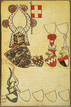 Folio 55v depicting the Dannebrog flag (from the Gelre Armorial, by Herald Claes Heinenzoon, pre-1396).