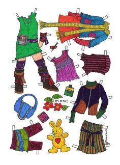 Karen`s Paper Dolls: Simone 1-6 Paper Doll in Colours. Påklædningsdukke Simone 1-6 i farver.