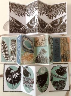 Prints by Angie Mitchell. Saving these as inspiration for stamps I'd like to carve! Linocut Prints, Art Prints, Collage, Bird Drawings, Handmade Books, Tampons, Art Journal Pages, Bird Art, Art Lessons