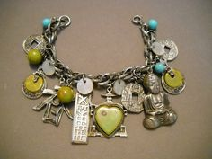 ART CHARM BRACELET w Bakelite and Chinese Charms