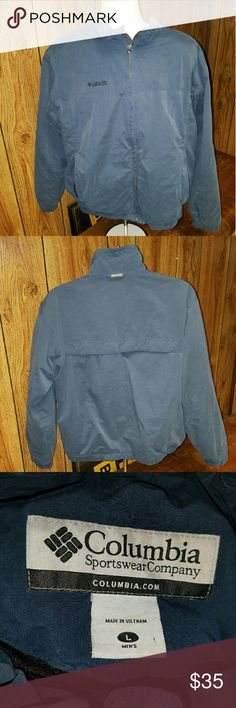 "Mens Columbia jacket Blue mens Large Columbia jacket  arm pit to arm pit 23"" collar to hem  24 and1/2"" Columbia Sportswear  Jackets & Coats Windbreakers"