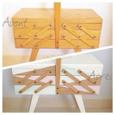 Ma jolie petite travailleuse got one of these Wooden Sewing Box, Vintage Sewing Box, Wooden Boxes, Coin Couture, Creation Deco, Craft Room Storage, Diy Table, Furniture Inspiration, Diy Projects To Try