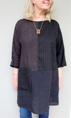 As always, we're super excited to be finally introducing our latest Tessuti pattern – The Ola Tunic Top! This loose tunic-style top pattern comes complete with three style options and features magyar sleeves and exposed bindings on the neckline and. Clothing Patterns, Dress Patterns, Sewing Patterns, Sewing Clothes, Diy Clothes, Dress Sewing, Sewing Hacks, Sewing Tips, Sewing Projects