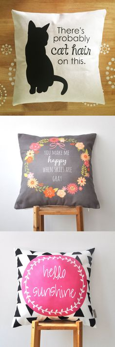 Spruce up your living room with these decorative pillows and fun, inspirational quotes.