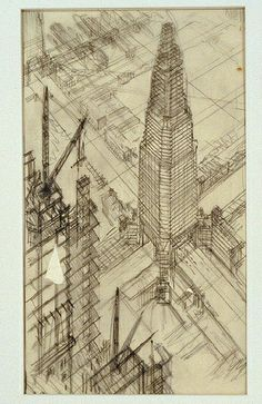 Drawing by Hugh Ferriss from the Avery Collection  nyda.1000.001.00341.jpeg by Kosmograd, via Flickr