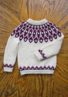 Ravelry: Blossi Icelandic lopi sweater/lopapeysa pattern by Sarah Dearne Knitting For Kids, Free Knitting, Baby Knitting, Fair Isle Knitting Patterns, Knit Patterns, Icelandic Sweaters, Wool Sweaters, Sewing Baby Clothes, Knit Basket