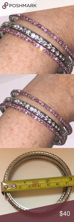 "3 Pink, White, Pink Crystal Bangles 3"". We buy 98% from small shop auctions all over the USA which dictates our prices. Our Treasures are: >Rare and can not be replaced; >Pre-owned/Used; >Have a Patina due to Age/Wear/Use; >(New unused Treasures are Noted); >Description= (See Pics (Zoom is Available)). We are not experts/Jewelers/Gemologists/Historians/Authenticators. Review pics for any/all defect or deficiency. Please review All Pics carefully and ask questions prior to purchase. All Items…"