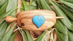 Hand carved Greek Olive Wood hair buckle inlaid with heart shaped turquoise gemstone,