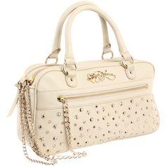 9c55af38ccfc Betsey Johnson SUPER STAR Leather Handbag - Ivory Studded Satchel Designer  Bag
